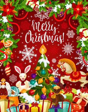Kerstboom en cadeau kaart met Nieuwjaarslinger Stock Illustratie