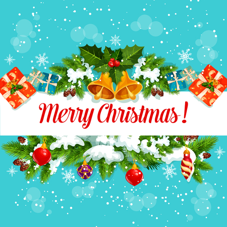 Christmas garland with New Year gift greeting card Vector Illustration