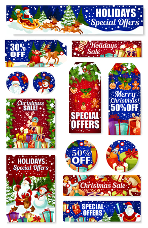 Christmas gift sale tag. Santa and snowman with Xmas tree and New Year present in reindeer sleigh, holly and pine tree garland with bell, snowflake, ball and cookie for winter holiday discount design