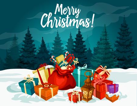 Frohe Weihnachten Urlaub Grußkarte mit Neujahr Geschenk und Santa Tasche. Weihnachtsgeschenkkasten mit Bandbogen, Süßigkeit und Schnee festliches Plakat mit Weihnachtsbaum- und Winterwaldlandschaft auf Hintergrund