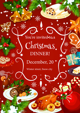 Christmas holiday dinner invitation poster template with frame of festive dishes. Turkey, gingerbread cookie, chocolate cake and mulled wine banner with New Year bell, snowflake, holly berry and pine Illustration