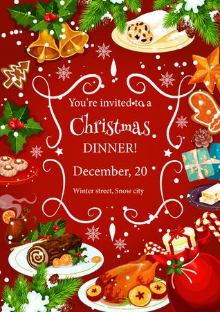 Weihnachtsfeiertagsabendesseneinladungsplakatschablone mit Rahmen von festlichen Tellern. Die Türkei, Lebkuchen, Schokolade Kuchen und Glühwein Banner mit Neujahr Glocke, Schneeflocke, Holly Berry und Kiefer