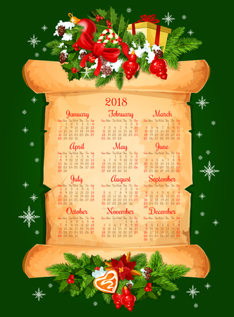 2018 calendar for Christmas winter season of winter snow and New Year decorations. Vector frame of golden bell, Christmas tree fir or pine cones, Santa hat and presents gift on old paper scroll 일러스트