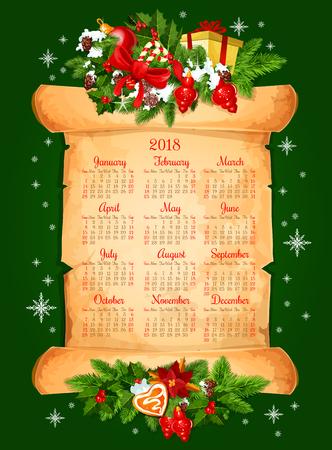 2018 kalender voor Kerstmis winterseizoen van wintersneeuw en Nieuwjaar decoraties. Het vectorkader van gouden klok, Kerstmisspar of denneappels, Kerstmanhoed en stelt gift op oude document rol voor Stock Illustratie