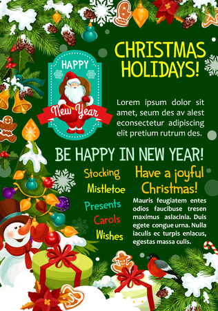 Merry Christmas wish greeting card for winter happy holidays. Vector Santa gifts under Christmas tree, New Year decoration of golden bell and star, snowman and holly wreath garland with candle Illustration