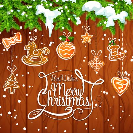 Kerstboomslinger met koekjesgroetkaart Stock Illustratie