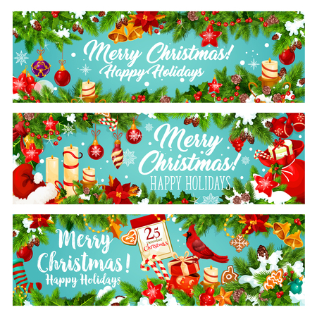 Christmas banner of New Year winter holiday gift Illustration