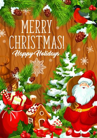 Vrolijke vector de groetkaart van de Kerstmisvakantie
