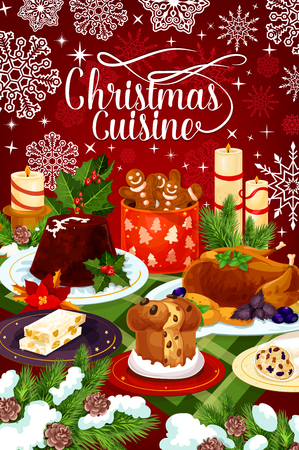 Christmas cuisine winter holiday dinner banner Vectores