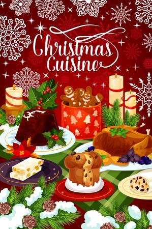 Christmas cuisine winter holiday dinner banner Çizim