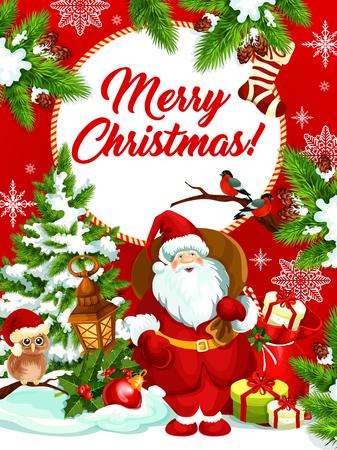 Merry Christmas vector Santa geschenken wenskaart