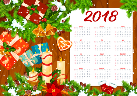 Christmas calendar template on wooden background
