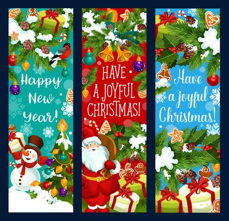 Vrolijke vector de groetbanners van het Kerstmisnieuwjaar