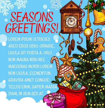 Kerst seizoen wens vector schets wenskaart