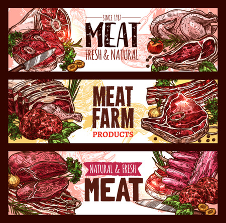 Meat, fresh cut of beef and pork sketch banner set