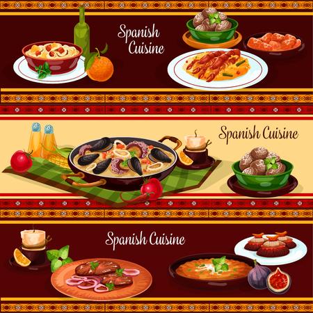 Cena di cibo spagnolo, set di banner di menu ristorante cucina mediterranea. Paella di pesce, cozze, riso con gamberi, tortilla di verdure, bistecca di manzo, spezzatino di pollo con salsa al peperoncino, patate al forno, spezzatino di fagioli di maiale Archivio Fotografico - 90172433
