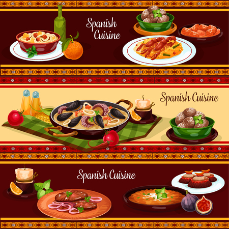 Spanish food dinner, mediterranean cuisine restaurant menu banner set. Seafood paella, mussel, shrimp rice, vegetable tortilla, beef steak, chicken stew with chilli sauce, baked potato, pork bean stew Illustration