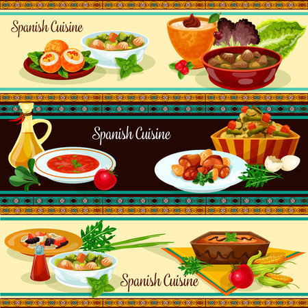 Spanische Küche Banner mit traditionellen Speisen Standard-Bild - 90246601