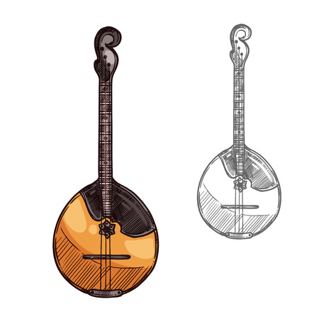 Domra or mandolin sketch russian music instrument