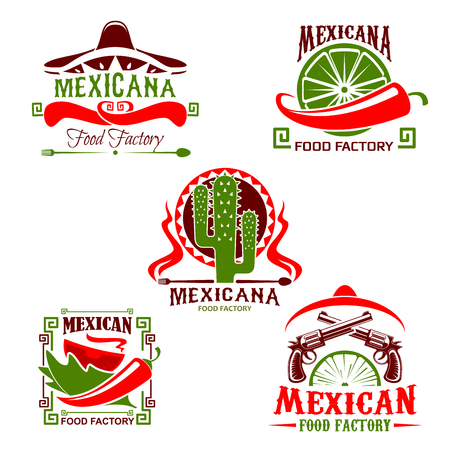 Mexican cuisine restaurant icon, fast food design Illustration