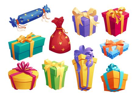 Geschenkdoos icoon van huidige verpakking met strik Stock Illustratie