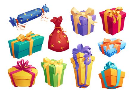 Gift box icon of present packaging with ribbon bow Çizim
