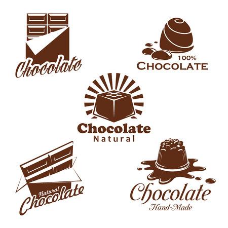 Chocolate candy, bar, cacao dessert emblem design