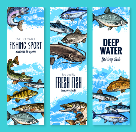 Fresh fish banner for seafood and fishing design