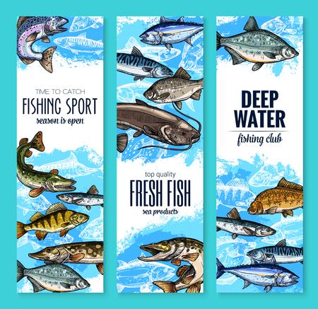 Verse visbanner voor zeevruchten en visserijontwerp