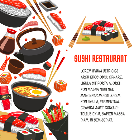 Sushi restaurant poster for japanese food design Illustration