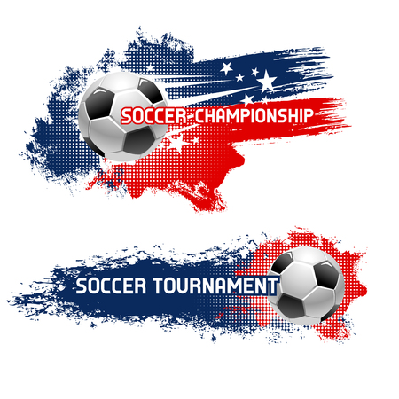 Soccer ball, football tournament banner set.