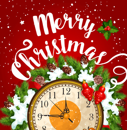 Christmas midnight clock card for New Year design