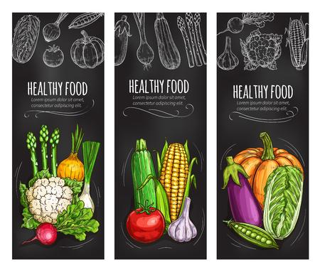 Vegetable chalkboard banner of fresh veggies Vectores
