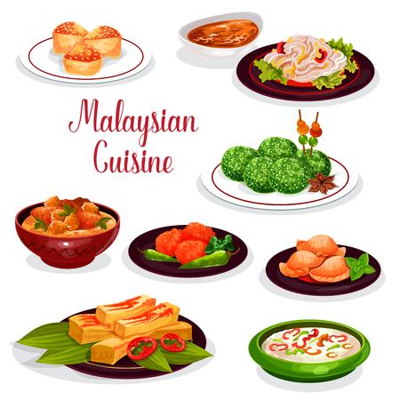 マレーシア料理レストランディナーアイコンデザイン  イラスト・ベクター素材