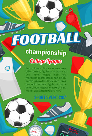 Football match sport banner with soccer items