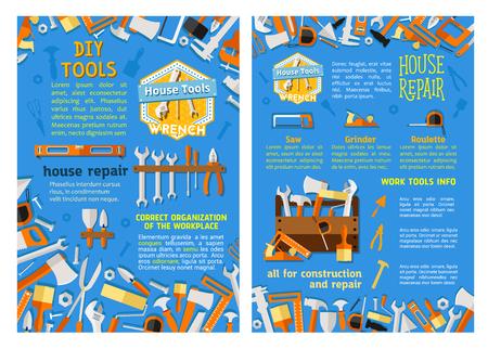 家の修繕、工事ポスターの仕事ツール セット  イラスト・ベクター素材