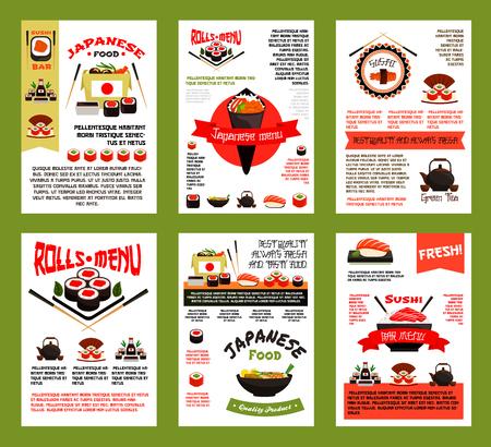 Japanese food and sushi menu banner template set Stock Vector - 90405151