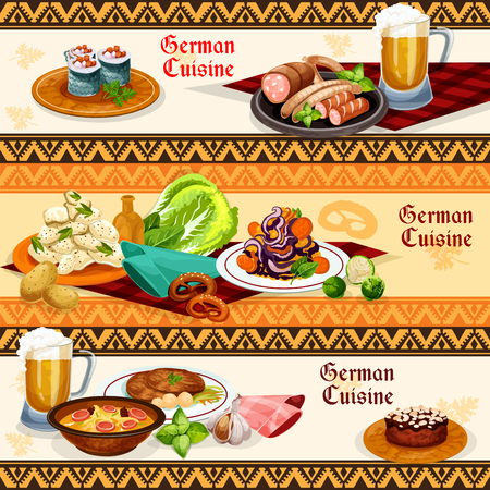 German cuisine restaurant or pub menu banner set