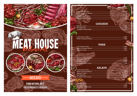 レストラン パンフレット デザインのバーベキュー肉メニュー  イラスト・ベクター素材