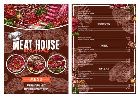 Barbecue meat menu for restaurant brochure design