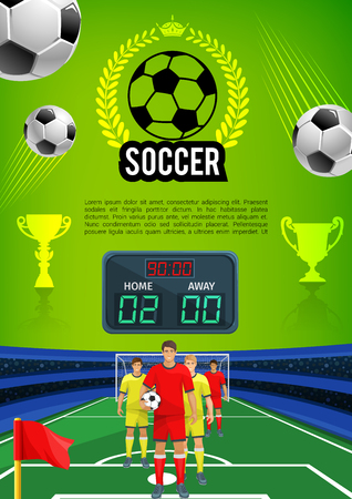 Soccer match sport game banner with football field