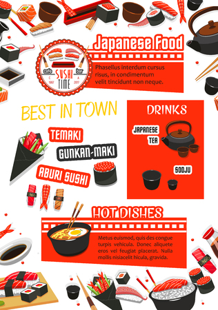 Japanese food, sushi and drink menu template