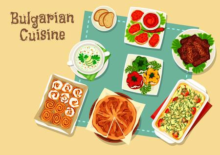 Bulgarische Küche Icon Design mit nationalen Lebensmitteln Standard-Bild - 90246677