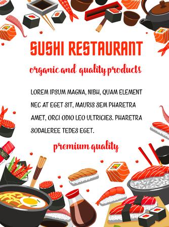 Sushi restaurant menu banner of japanese cuisine