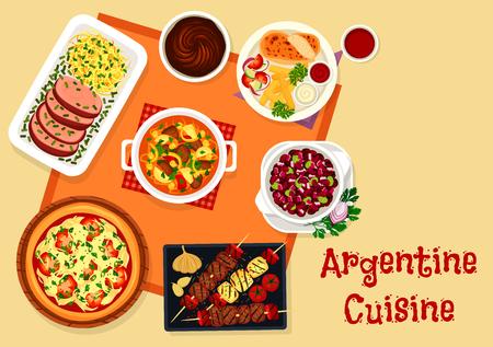 Argentine cuisine lunch menu with dessert icon Ilustração