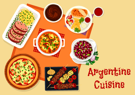 Argentine cuisine lunch menu with dessert icon Illustration