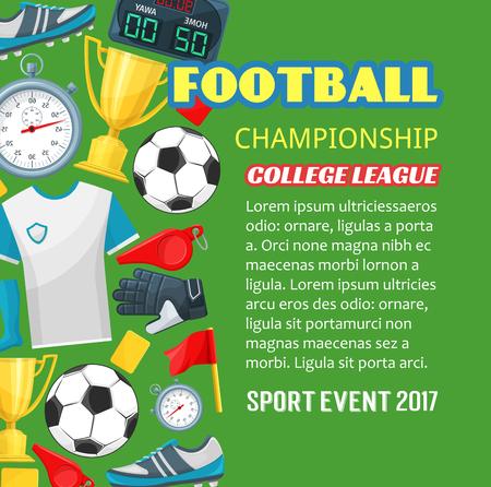 Voetbal kampioenschap poster van voetbalsport spel