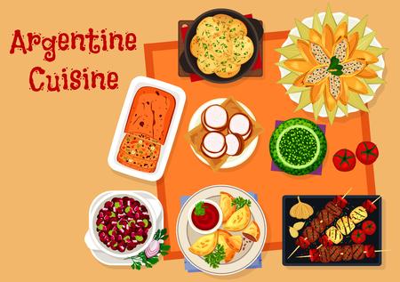 Argentijnse keuken pictogram met traditionele gerechten