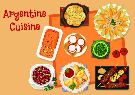 Argentine cuisine icon with traditional food Illustration