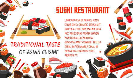 Japanese sushi restaurant banner of asian food Illustration